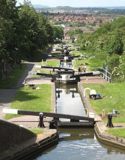 A sequence of nine locks on the Dudley Canal, UK