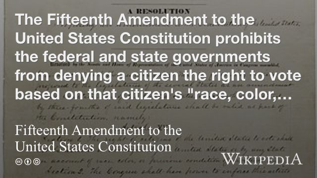 """Fifteenth Amendment to the United States Constitution"" on @Wikipedia:"