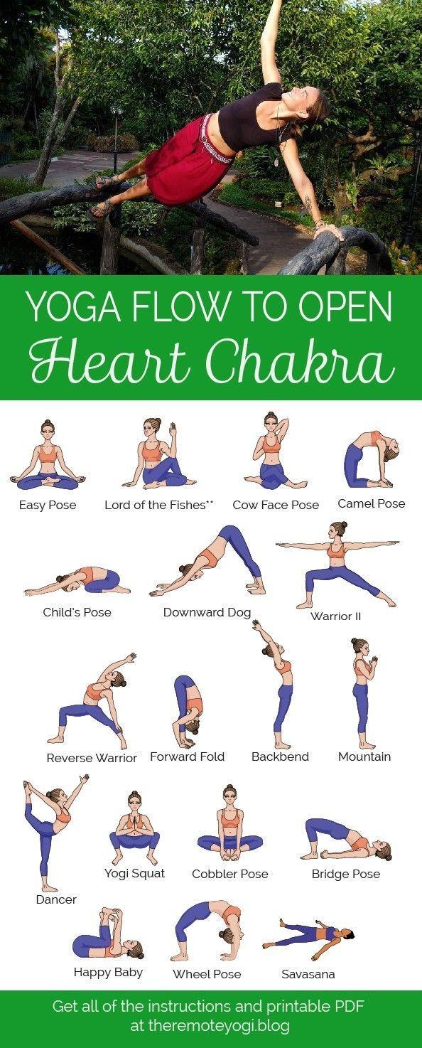 Yoga For The Heart Chakra Free Printable Pdf Yoga Flow Easy Yoga Poses Easy Yoga