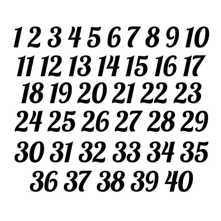 1 40 Italic Numbers Vinyl Sticker Decals Wedding