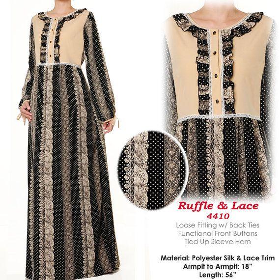 Lace Print Ruffle Islamic Muslim Abaya Dress Long by MissMode21, $27.00