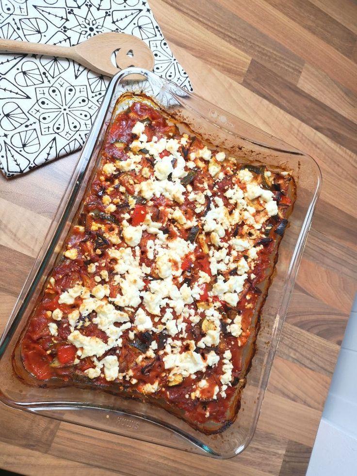 Ofen Ratatouille mit Feta – Vegetarisches Low Carb Rezept zum Abnehmen