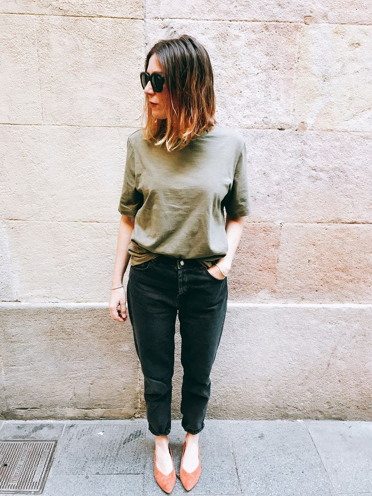Working girl style by Morgane : denim Bershka + tee Uniqlo + ballerina Bimba y Lola #teampotoroze khaki style inspiration, work outfit, look for work, tenues professionnelles, looks de oficina