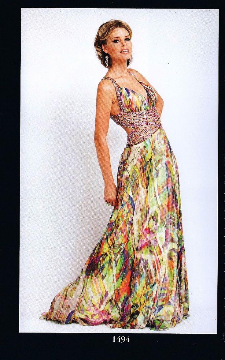 vestidos de festa de seda estampado 2