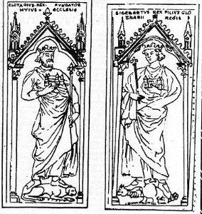 Liste des souverains mérovingiens et carolingiens inhumés hors de Saint-Denis et hors de Paris: St Médard de Soissons: dalle funéraire de Clotaire et de Sigebert.