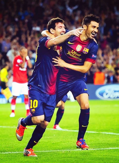 David Villa & Lionel Messi