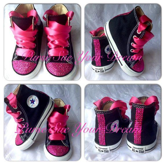 Roze Crystal Strass aangepaste Converse schoenen