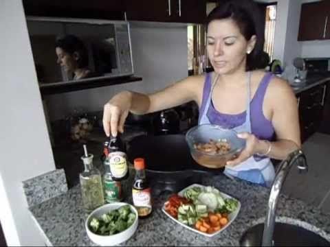 Camarones teriyaki con vegetales