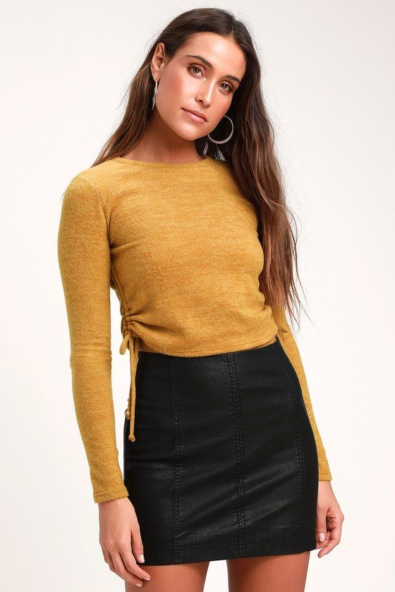 2bf445689b5 Keep it cute and cozy in the Lulus Belleterre Mustard Yellow Ruched Cropped  Sweater Top!