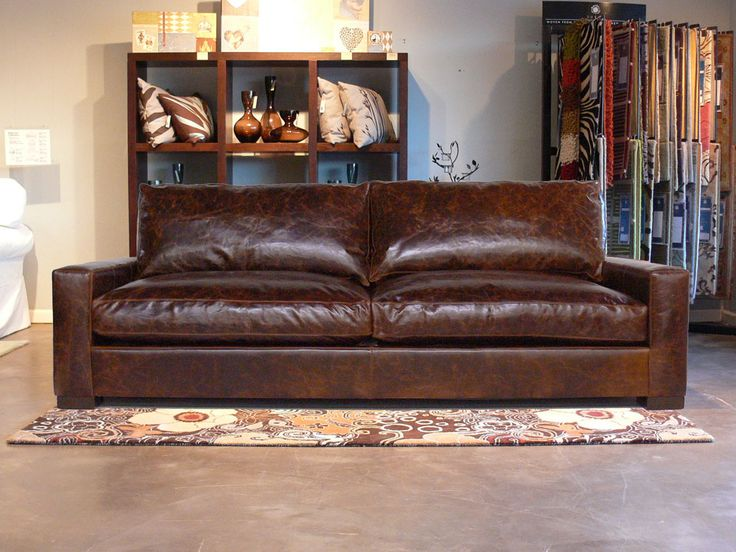 The Braxton Twin Cushion Leather Sofa   Sleeper