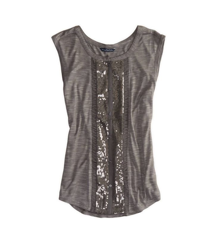 AE Sequined Button Front Tank. Sparkle tank. New years looks