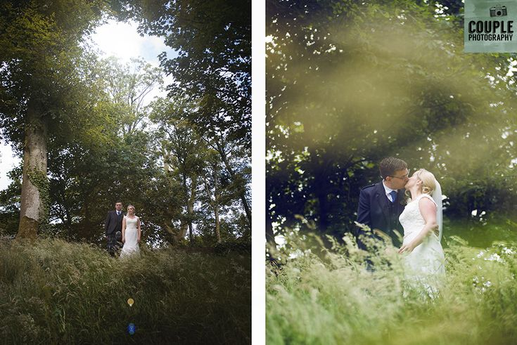 The newlyweds surrounded by greenery in the gorgeous grounds of Tulfarris as the sun bursts through the trees. . Weddings at Tulfarris Hotel & Golf Resort photographed by Couple Photography.