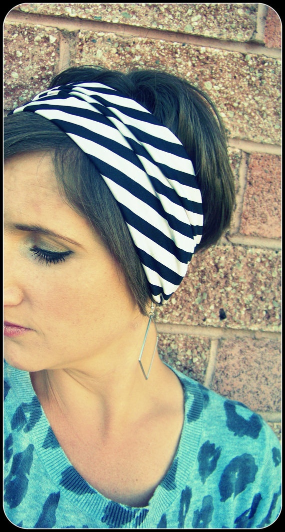 Simple Boho Wide Stretch Headband  Black and White/Pink Diagonal Stripes by LCDecorStudio, $10.00