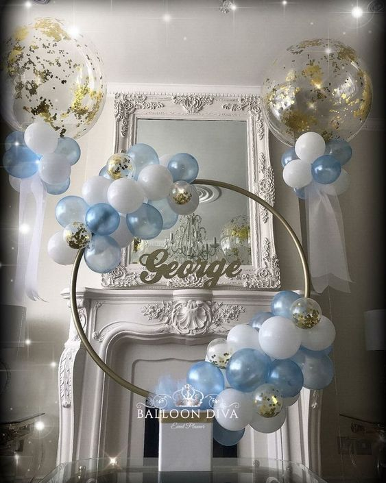 baby shower ideas, baby shower ideas for boys, blue and white balloon hula hoop …