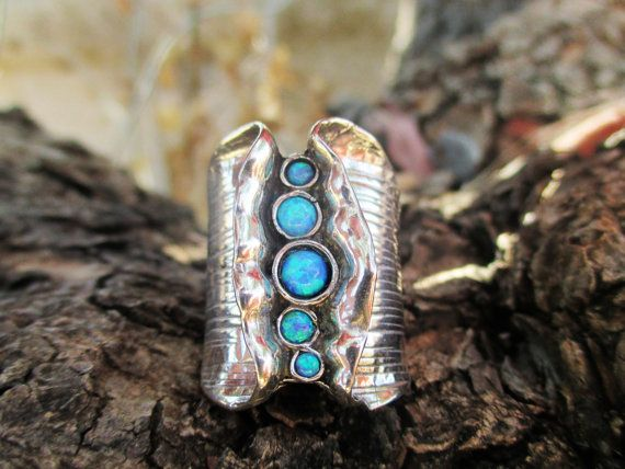 Sterling Silver Rings Multistone Ring,Crafted Silver Ring,Wide Ring,Blue Opals,Oxidized Silver,Gemstone,Women ring,Gift,Unique Jewelry