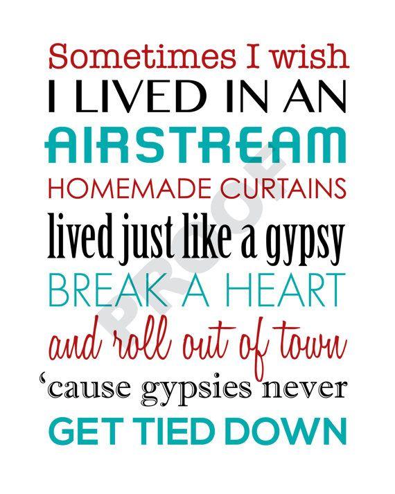 Printable MIRANDA LAMBERT Airstream Song Lyrics by JaydotCreative
