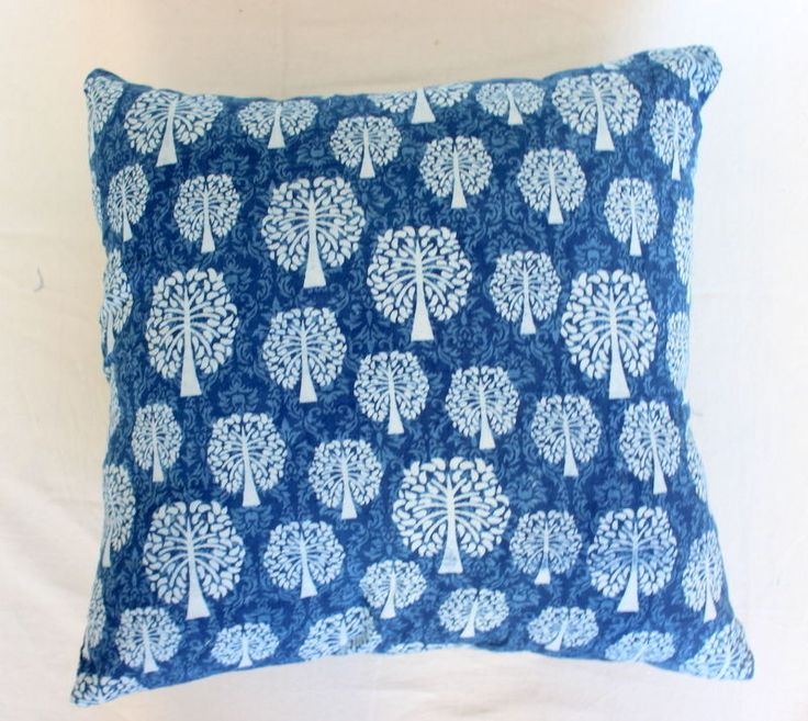 Indigo blue Shibhori Dye Cotton Printed Cushion Cover Dabu Printed Pillow case   #KhushiHandicraft #ArtsCrafts