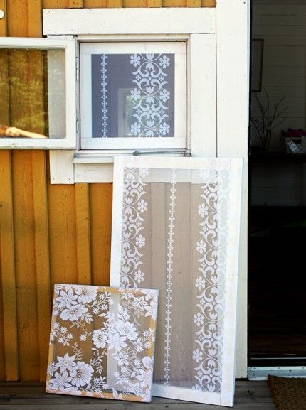 BRILLIANT!!!! Old lace curtains as beautiful and functional mosquito netting. Using a wood frame and a staple gun, and voila!
