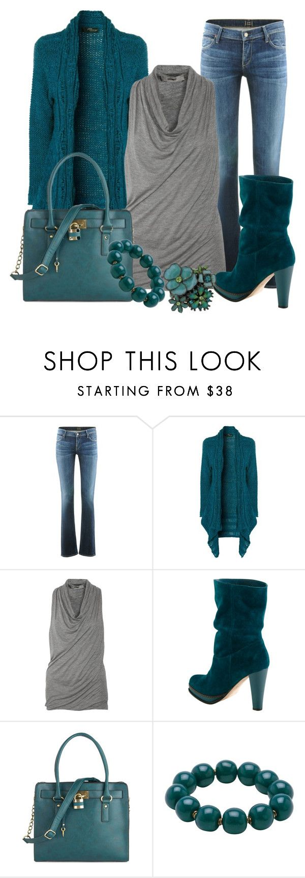 """""""Teal with Gray"""" by lisamoran ❤ liked on Polyvore featuring Citizens of Humanity, Jane Norman, Helmut Lang, Cole Haan, Melie Bianco, Kazuri and 1928"""
