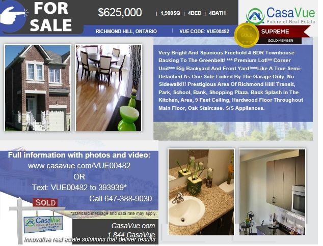 #homeforsale 1908 SqFt 4-bed 3-bath $625,000 #RichmondHill #Toronto #Ontario #realestate More:http://bit.ly/1urZ0DB  Victoria Pevneva:647-388-9030  Very Bright And Spacious Freehold 4 BDR Townhouse Backing To The Greenbelt! *** Premium Lot!** Corner Unit*** Big Backyard And Front Yard!***Like A True Semi-Detached As One Side Linked By The Garage Only.