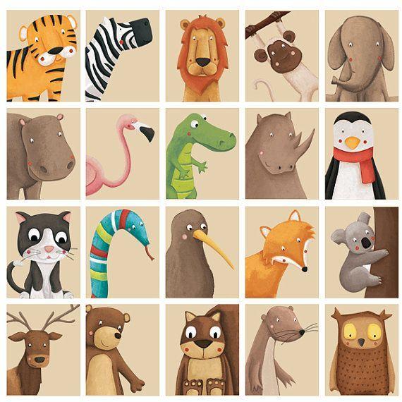 Cute Animal print, Nursery Art print your own, Woo…