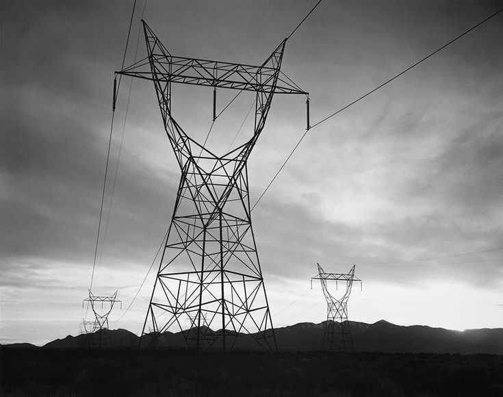 1942 Transmission Lines from Boulder Dam, Mojave Desert, California by Ansel Adams 85.122.41
