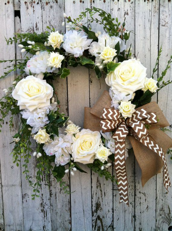 White flower wreath spring wreath for door by Spring flower arrangements for front door