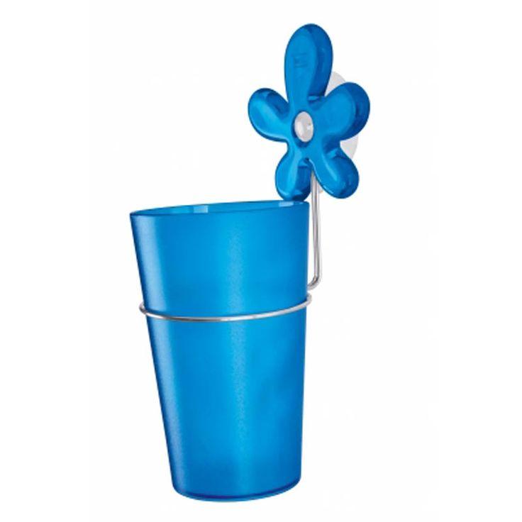 Kubek łazienkowy na szczoteczki z przyssawką niebieski - Koziol - A-PRIL