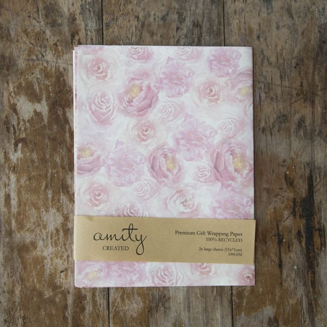 Pink blossom Gift wrap 100% recycled Hand-painted, watercolour florals Uncoated and matte sheets #giftwrap #wrappingpaper #craft #paper #watercolour #florals