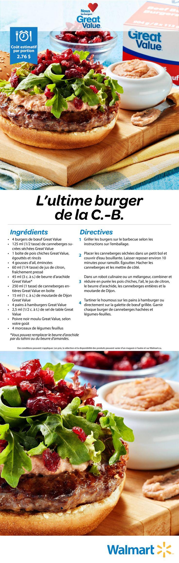 Notre Ultime burger de la C.-B. est probablement l'un des meilleurs sur le gril cette année. Le secret? Le beurre d'arachide Great Value! #bbq #recettesdebbq #recettesdeburgers #hamburgers #bbqdanslacour #réceptionestivale #meilleursburgers #recettesestivales #pausebifteck