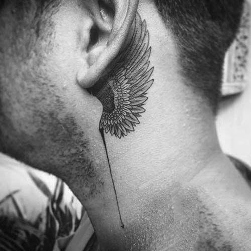 kulak arkası kanat dövmesi erkek behind ear wing tattoo for men