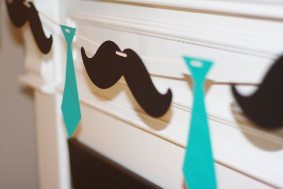 Little Man Ties and Mustaches Theme Baby Shower or Birthday Garland Banner - You Pick Your Colors - Free Ship Over 40.00