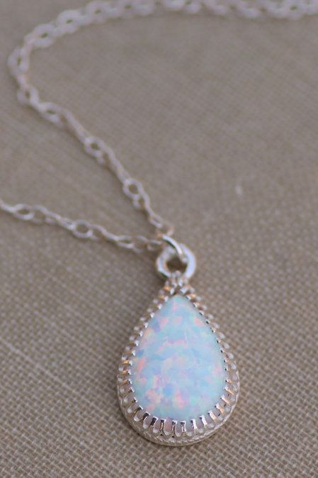 White Opal Teardrop Necklace