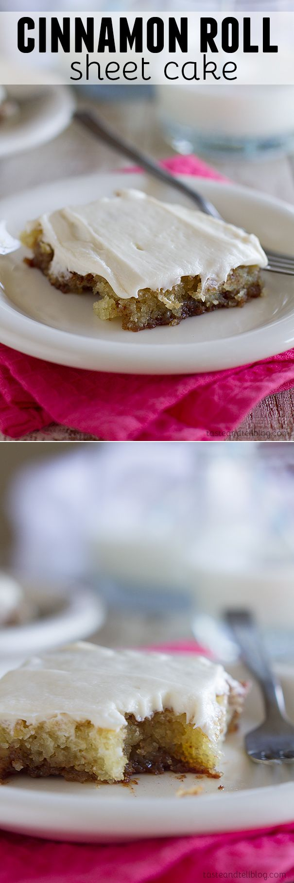 Cinnamon Roll Sheet Cake - Filled with cinnamon, spice and everything nice, this sheet cake is super tender and moist and addictive! Plus a review of The Girl Who Ate Everything Cookbook.