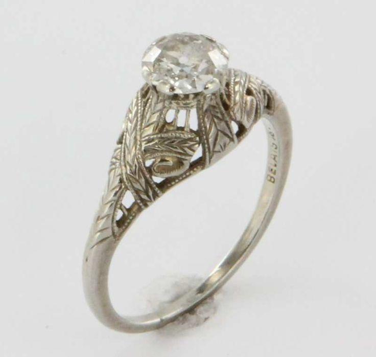 Antique Deco Belais 18k Gold Diamond Filigree Engagement