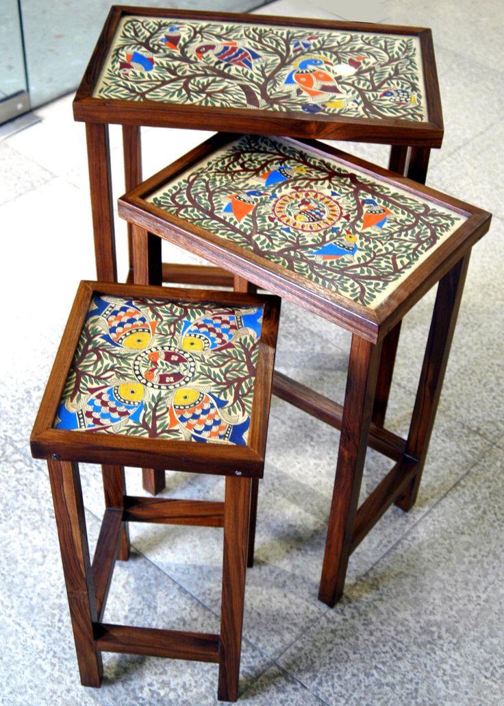 Mithila painted teak wood set 3 of tables