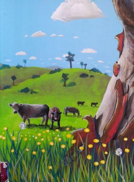 Cows from GUM TREE MURAL by Australian Artist, Selinah Bull http://www.selinahbull.com