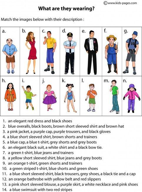 Clothes Description worksheets