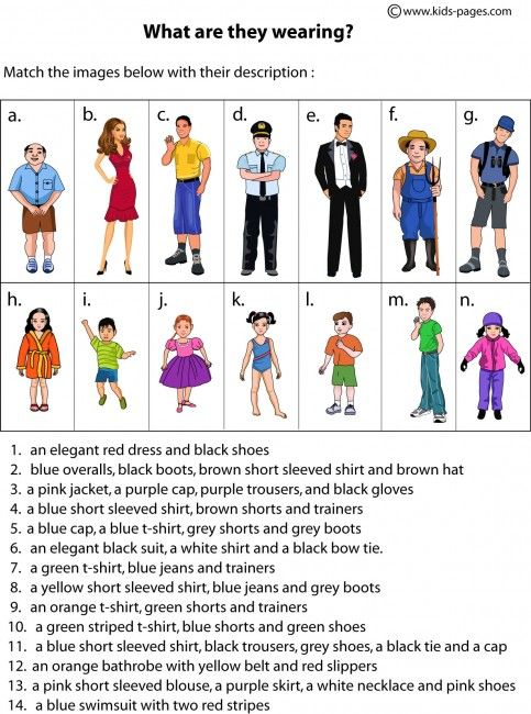 Clothes Description worksheets