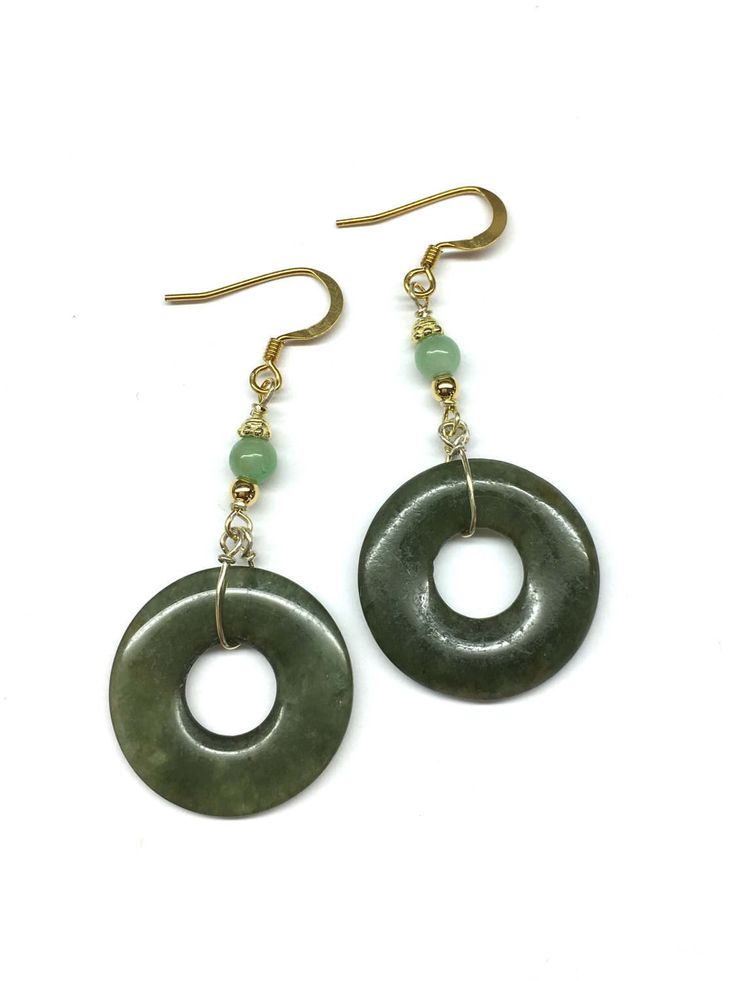 Jade Disc Earrings - Antique Dark Green Jade Disc Safety Buckle (from Qing Dynasty) and Green Jade Bead Gold Plated Sterling Silver Earrings by RitaCollection on Etsy