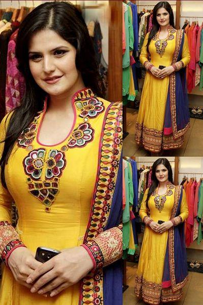 USD 77.71 Zareen Khan Sunshine Yellow Anarkali Salwar Suit 31779