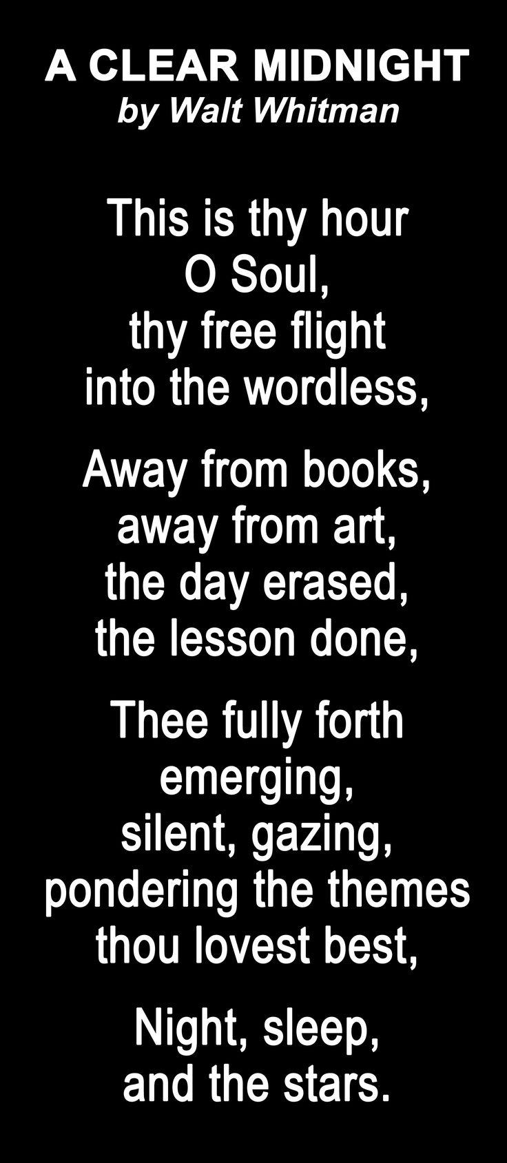My favorite poem A Clear Midnight - Walt Whitman