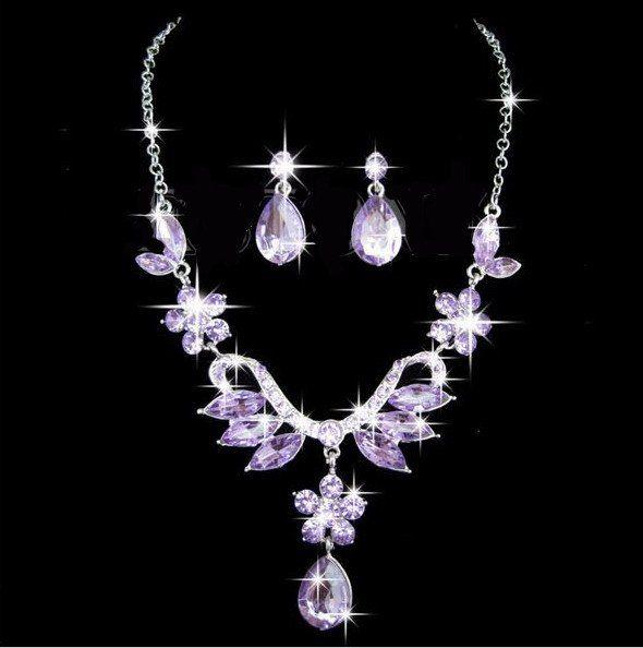 Purple Crystal Rhinestone Flower Drop Pendant Necklace Earring Set – UCHARMME.co.nz