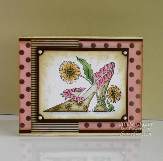 Flower Foot Designs: Flower Soft Fab Shoe in Pink & Brown