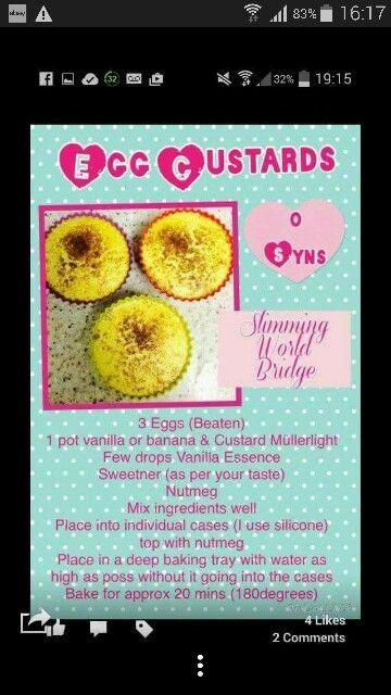 Syn free egg custards slimming world style
