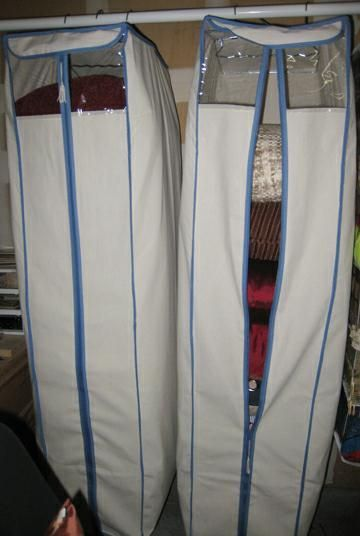 pillow & blanket storage.  Use a hanging wardrobe canvas.