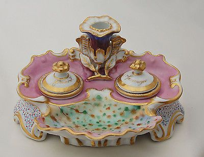 Antique Inkwell Porcelain Desk Set Shell Coral Nymphenburg 19th Cent Meissen Era