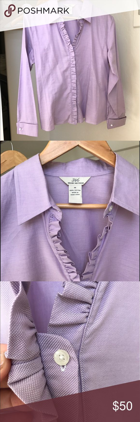Brooks Brothers Woman's French Cuff dress shirt Really pretty purple woman's Brooks Brothers collared shirt. 100% cotton. French cuffs. I am including the knot cuff links in white. Worn a couple of times Brooks Brothers Tops Button Down Shirts