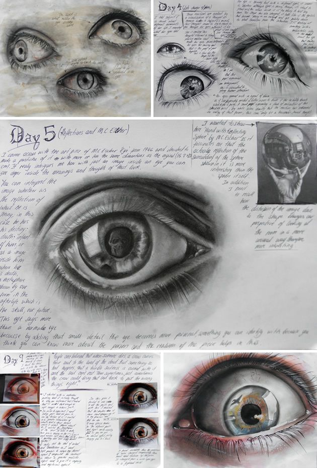 Eyes by Elena Tomas Bort, completed as part of Unit 3, Edexcel A Level Art at…