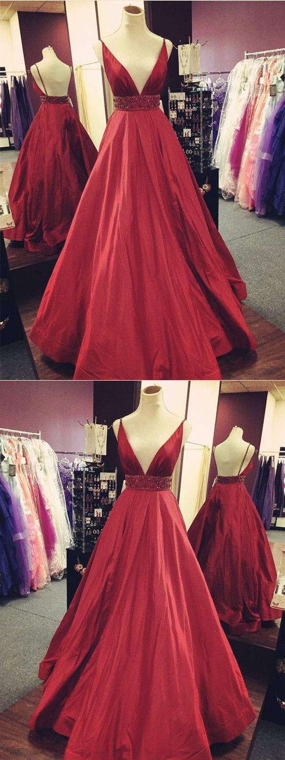 Formal dresses to wear to a wedding  Gorgeous Vneck Spaghetti Straps Backless Beading Red Prom Dresses